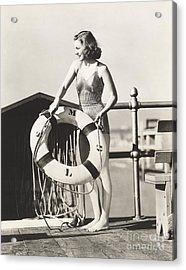 Woman On Pier Holding A Life Preserver Acrylic Print