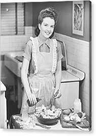 Woman Preparing Salad In Kitchen , B&w Acrylic Print by George Marks