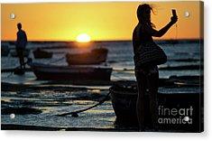 Acrylic Print featuring the photograph Woman Selfie At Sunset La Caleta Beach Cadiz Spain by Pablo Avanzini
