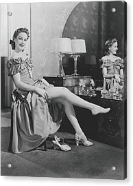 Woman Sitting At Vanity Table, Putting Acrylic Print by George Marks