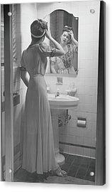Woman Suffering Headache Standing In Acrylic Print