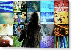 Woman Touching Screens Acrylic Print by Richard Newstead