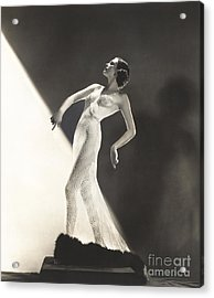 Woman Wearing Sheer Evening Gown Acrylic Print