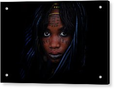 Woman With Blue Head Scarf And Facial Acrylic Print by Timothy Allen
