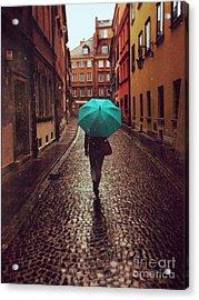 Woman With Umbrella Walking On The Rain Acrylic Print