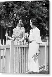 Women Chatting Over Fence Acrylic Print by H. Armstrong Roberts