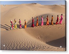 Women Fetching Water From The Sparse Acrylic Print by Mint Images - Art Wolfe