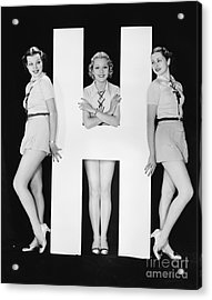 Women Posing With Huge Letter H Acrylic Print