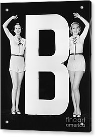 Women Waving With Huge Letter B Acrylic Print