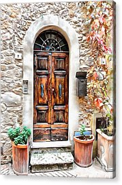 Acrylic Print featuring the photograph Wooden Door Pienza by Dorothy Berry-Lound