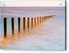 Wooden Groynes, Leysdown, Isle Of Acrylic Print by John Miller Photographer
