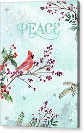 Woodland Holiday Peace Art Acrylic Print