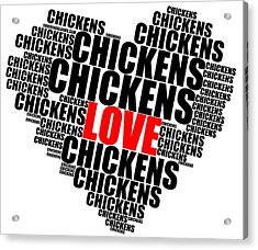 Wordcloud Love Chickens Black Acrylic Print