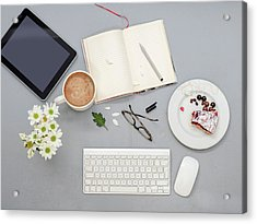 Working Desk With Objects Acrylic Print by Ozgur Donmaz