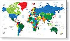 World Map-countries Acrylic Print