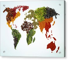 World Map With Spices And Herbs Acrylic Print