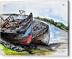 Wrecked River Boats Acrylic Print