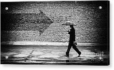 Wrong Way. A Man With Umbrella Acrylic Print