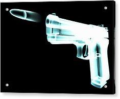 X-ray Of Gun Firing Bullet Digital Acrylic Print by Gary Cornhouse