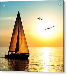 Yacht Sailing Against Sunset. Holiday Acrylic Print