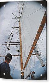 Yachting Crew In Lyford Cay Acrylic Print by Slim Aarons