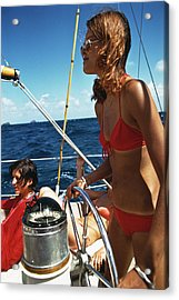 Yachting In The Caribbean Acrylic Print by Slim Aarons