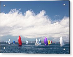 Yachts Sailing Under Spinnaker Acrylic Print