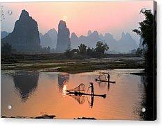 Yangshuo Li River At Sunset Acrylic Print by Kingwu