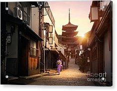 Yasaka Pagoda And Sannen Zaka Street In Acrylic Print