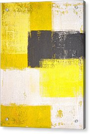 Yellow And Grey Abstract Art Painting Acrylic Print