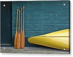 Yellow Canoe And Paddles On Dock Acrylic Print by Mary Ellen Mcquay