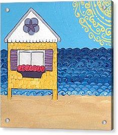 Yellow Cottage On The Beach Acrylic Print