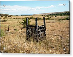 Yellow Grass And Fence Anchor Acrylic Print