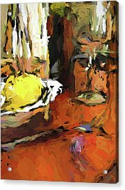 Yellow Lemon And The Wine Glass Acrylic Print