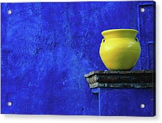 Yellow Pot And Blue Wall Acrylic Print