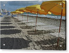 Yellow Umbrellas In South Beach Acrylic Print by Theresemck