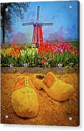 Yellow Wooden Shoes Acrylic Print