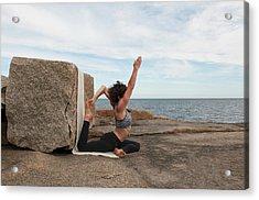 Yoga Instructor Demos Eka Pada Raja Acrylic Print