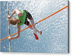 Young Athletes Pole Vault Seems To Acrylic Print