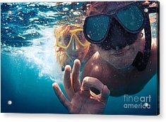 Young Couple Having Fun Underwater And Acrylic Print