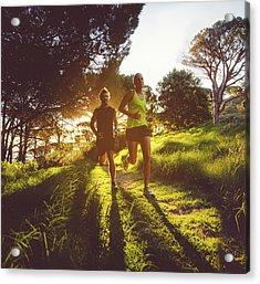 Young Couple Jogging Acrylic Print
