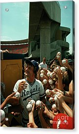 Young Fans Hold Up Baseballs For Royals Star George Brett To Sign Acrylic Print