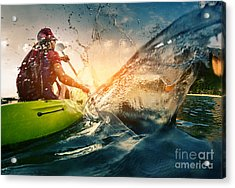 Young Lady Paddling Hard The Kayak With Acrylic Print by Dudarev Mikhail