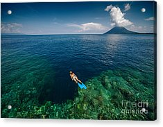 Young Lady Snorkeling Over The Reef Acrylic Print by Dudarev Mikhail