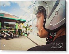 Young Man In Helmet Acrylic Print