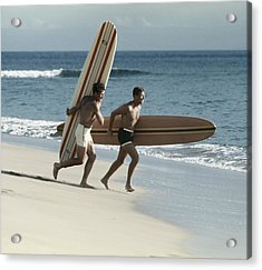 Young Men Running On Beach With Acrylic Print