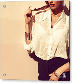 Young Pretty Fashion Blonde Model With Acrylic Print