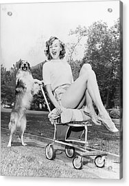 Young Woman And Her Pushy Pet Dog Acrylic Print