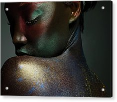 Young Woman Covered In Metallic Make Up Acrylic Print by Image Source