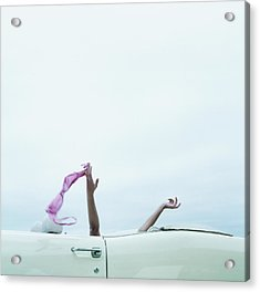 Young Woman In Convertible Car, Arms Acrylic Print by Jerome Tisne